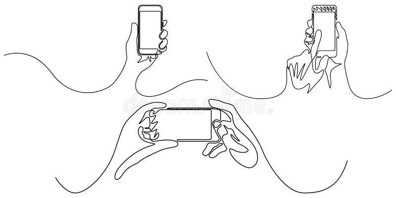 Ununterbrochene Linie Satz von Handholding Smartphone ger?te Auch im corel abgehobenen Betrag stock abbildung