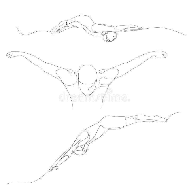 Ununterbrochene Linie Schwimmersatz Schwimmendes Thema Sommer-Olympische Spiele Vektor lizenzfreie abbildung