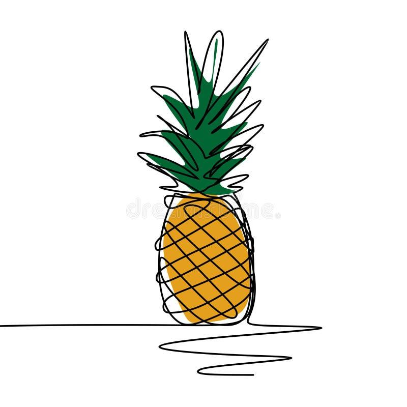 Ununterbrochene Linie unbedeutender Entwurf der Ananas eine der Kunstzeichnungsvektor-Illustration vektor abbildung
