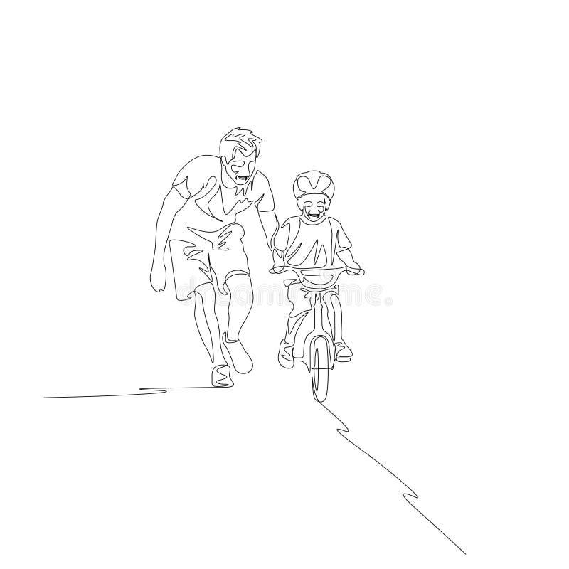 Ununterbrochene Linie Vater unterrichtet Sohnfahrt auf Fahrrad lizenzfreie abbildung