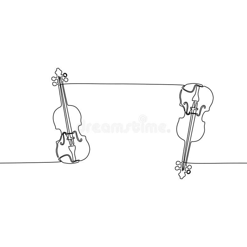 Ununterbrochene Linie Vektorzeichnung der Violine Klavierhandgezogenes Schattenbild clipart Akustische Musikinstrumentskizze gro? stock abbildung