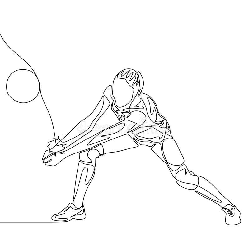 Ununterbrochene Linie Volleyballspielerfrau schlug den Ball stock abbildung