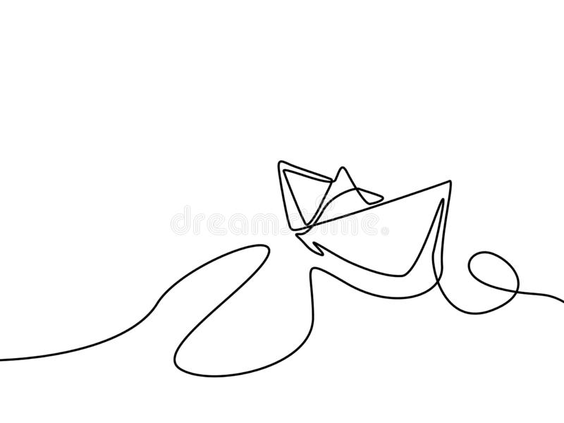 Ununterbrochene Linie Zeichenpapierschiff Auch im corel abgehobenen Betrag lizenzfreie abbildung