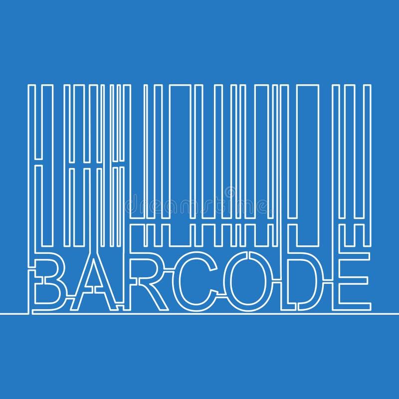 Ununterbrochenes Barcodekonzept Federzeichnung der einzelnen Zeile stock abbildung