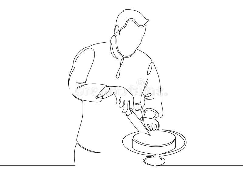 Ununterbrochenes Chefkochen der Federzeichnungseinzelnen zeile lizenzfreie abbildung