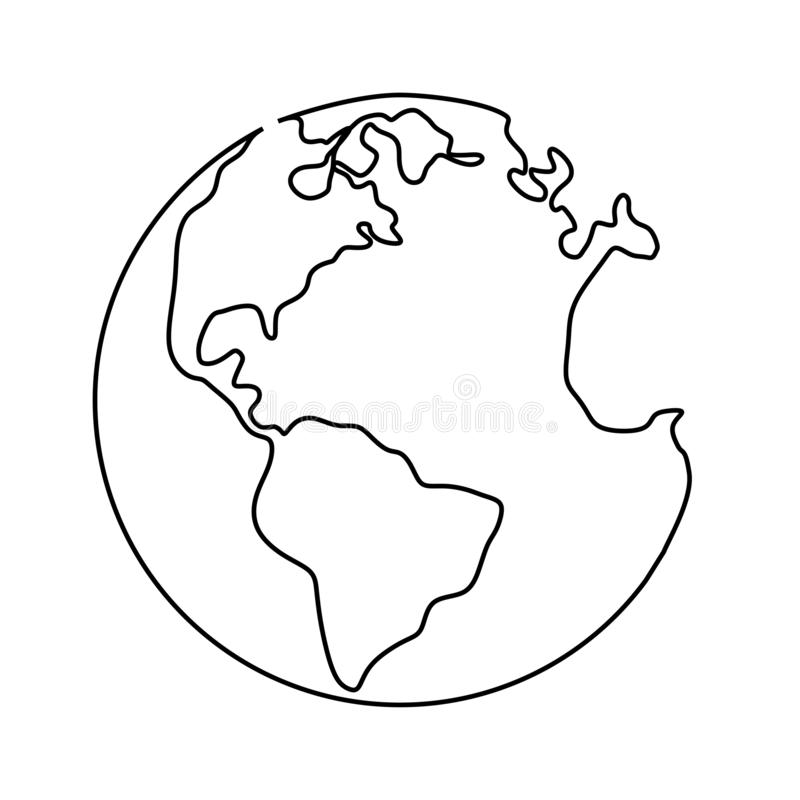 Ununterbrochenes Federzeichnung der Erdkugel lokalisiert auf weißem Hintergrundminimalismuskonzept stock abbildung