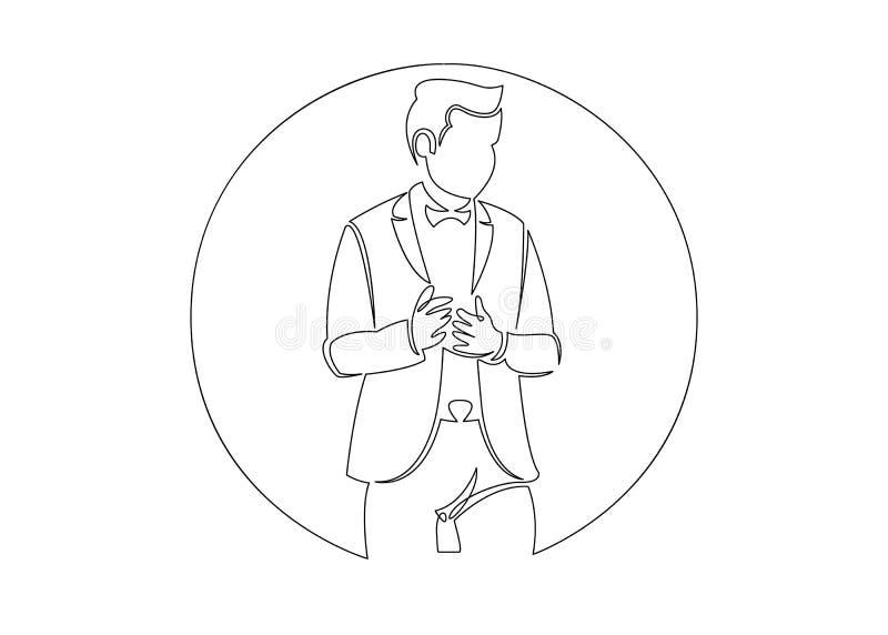 Ununterbrochenes Federzeichnung der Geschäftslage - glücklicher überzeugter stehender Geschäftsmann lizenzfreie abbildung