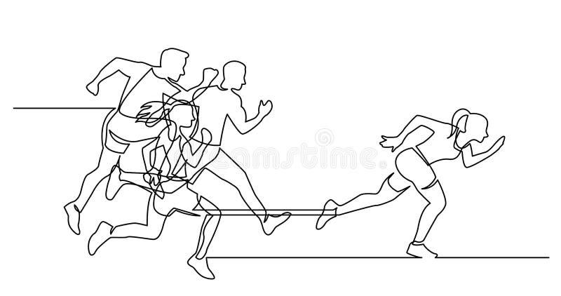 Ununterbrochenes Federzeichnung der Gruppe Athleten, die Führerfrau nachlaufen stock abbildung