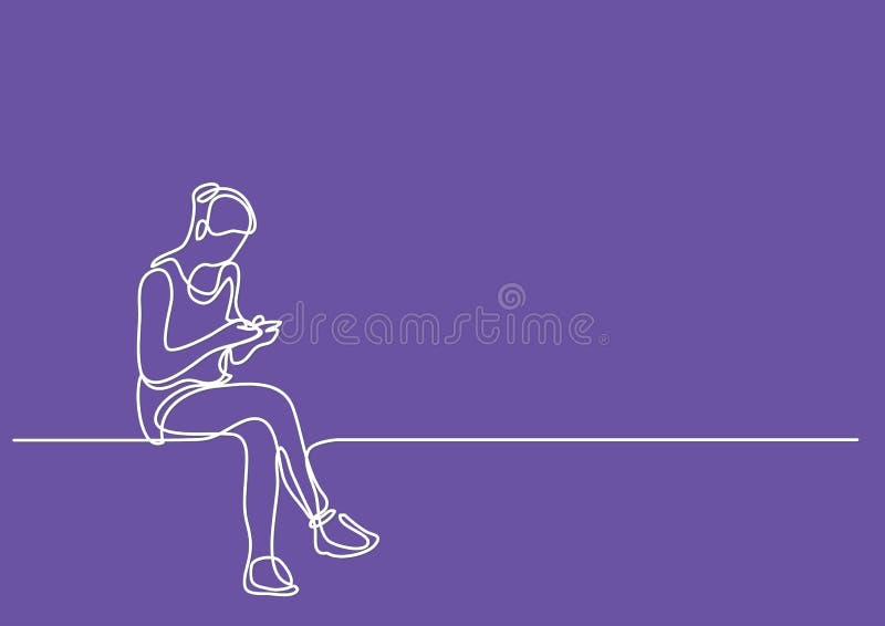 Ununterbrochenes Federzeichnung der jungen Frau sitzen-und der Lesung lizenzfreie abbildung