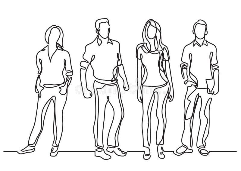 Ununterbrochenes Federzeichnung der Stellung von jungen Teammitgliedern lizenzfreie abbildung