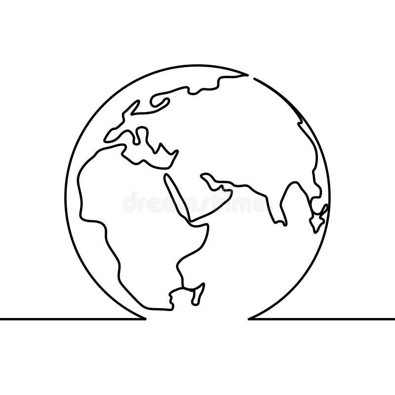 Ununterbrochenes Federzeichnung der Weltkarte des unbedeutenden Entwurfs der Erdkugel vektor abbildung