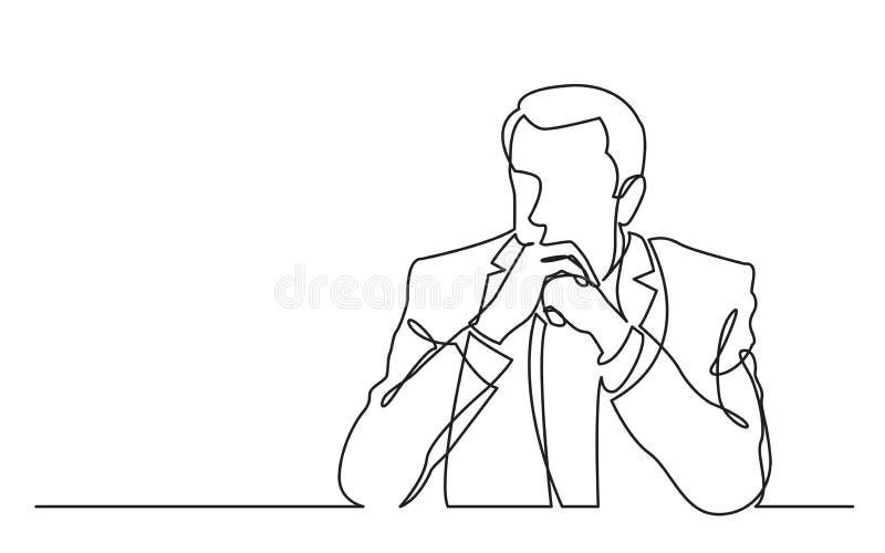 Ununterbrochenes Federzeichnung des ernsthaft denkenden Mannes lizenzfreie abbildung