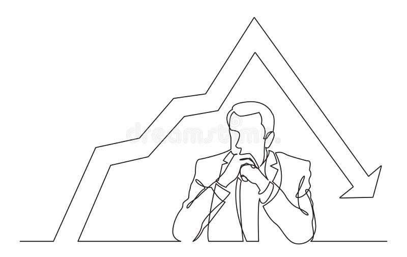 Ununterbrochenes Federzeichnung des ernsthaft denkenden Mannes mit abnehmendem Diagramm stock abbildung