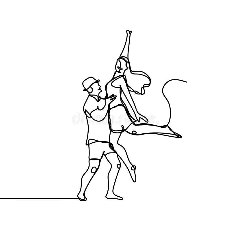 Ununterbrochenes Federzeichnung des glücklichen Mannes und der Frauen als springendes Gefühl der Paare ehrfürchtig und Freiheitsv vektor abbildung