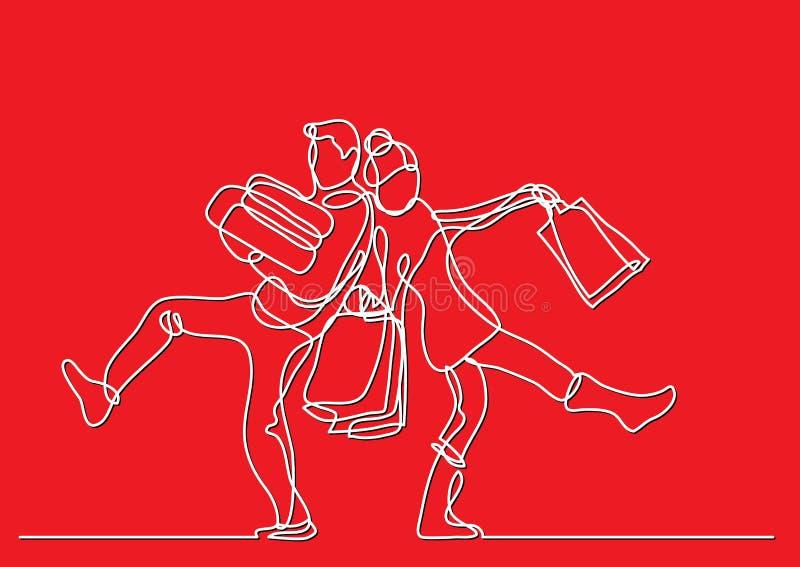 Ununterbrochenes Federzeichnung des glücklichen Paars mit Feriengeschenken lizenzfreie abbildung