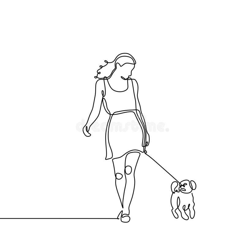 Ununterbrochenes Federzeichnung des Hundes und ein junges Mädchen, das unbedeutenden Entwurf geht Ein Konzept des Tierhaustieres  lizenzfreie abbildung