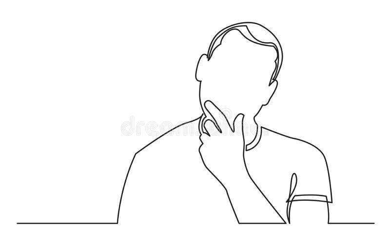 Ununterbrochenes Federzeichnung des Mannes Gelegenheiten analysierend lizenzfreie abbildung