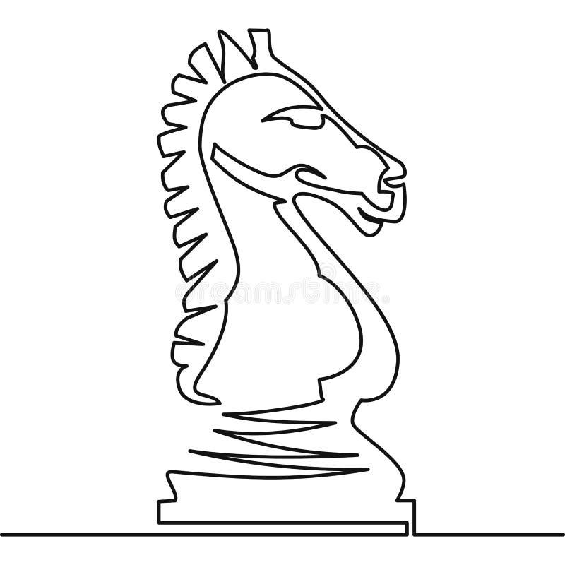 Ununterbrochenes Federzeichnung des Schachrittervektors vektor abbildung