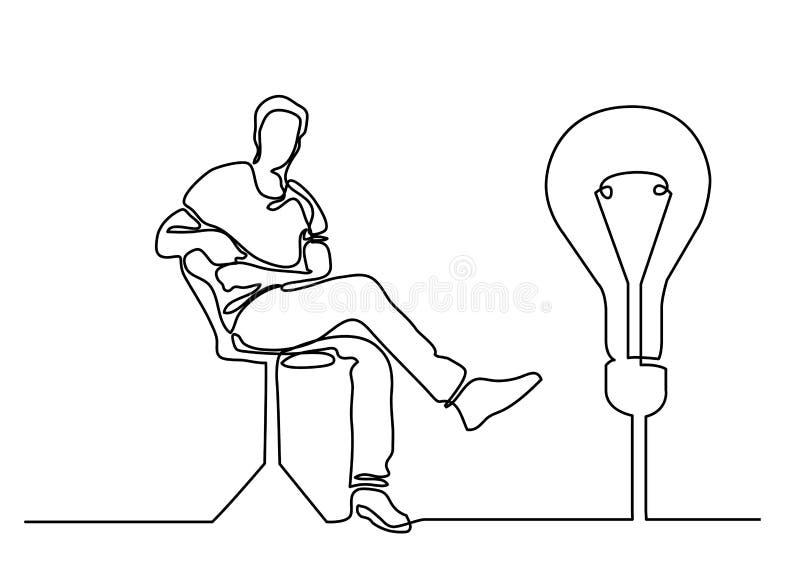 Ununterbrochenes Federzeichnung des sitzenden Mannes mit guter Idee vektor abbildung