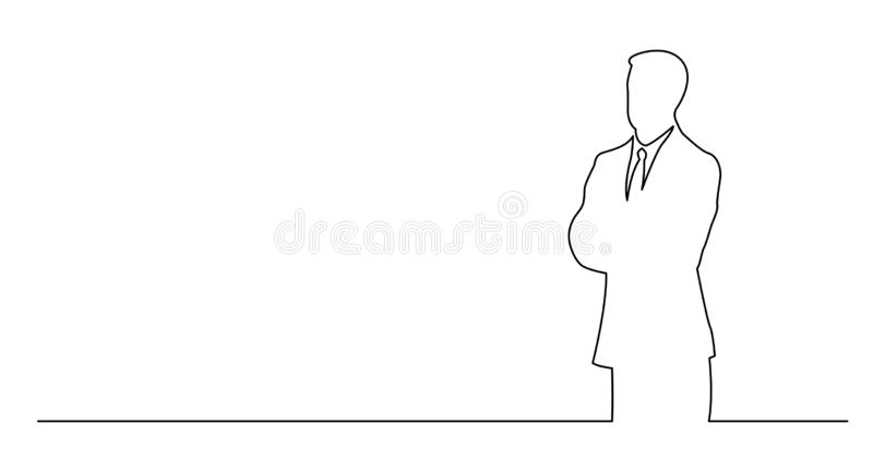 Ununterbrochenes Federzeichnung des stehenden Geschäftsmannes mit Kopienraum lizenzfreie abbildung