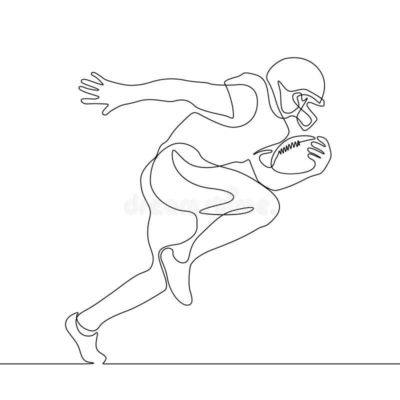 Ununterbrochenes Federzeichnung, die Spieler des amerikanischen Fußballs laufen lässt stock abbildung