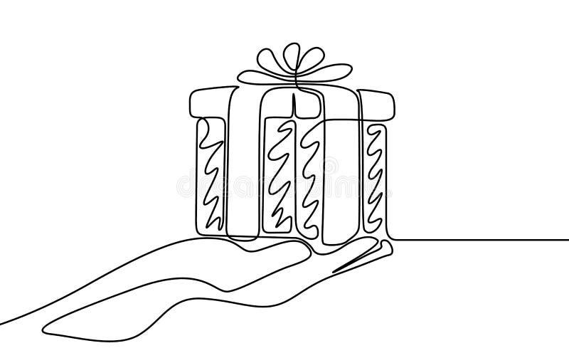 Ununterbrochenes Federzeichnung ein Geschenk geben Auch im corel abgehobenen Betrag lizenzfreie abbildung