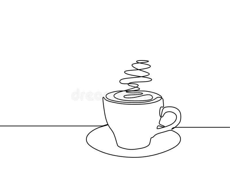 Ununterbrochenes Federzeichnung einer Entwurfs-Minimalismusart i des Tasse Kaffees unbedeutenden stock abbildung