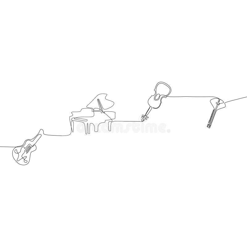 ununterbrochenes Federzeichnung Mandoline eine Akustikgitarre des Violinenklaviers der traditionellen Stoßmusikinstrument-Konzept stock abbildung