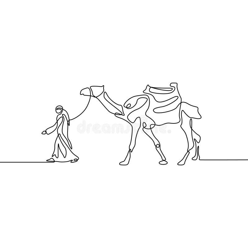 Ununterbrochenes Federzeichnung Mann führt ein Kamel Auch im corel abgehobenen Betrag stock abbildung