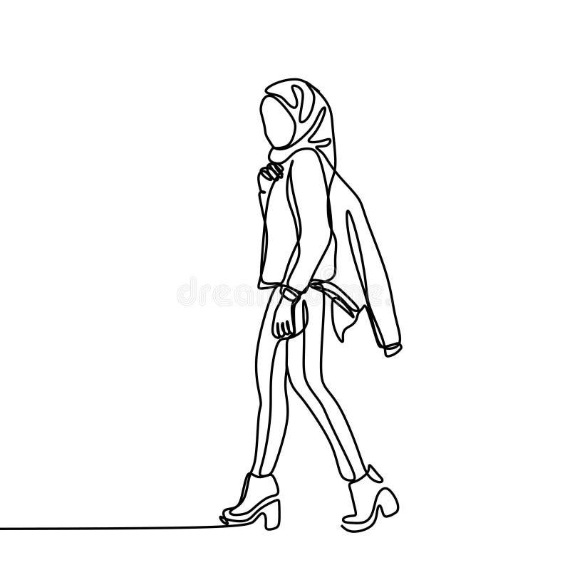 Ununterbrochenes Federzeichnung modernen hijab Mädchens Islamische Frauen, die Schal in der Schönheitshaltungs-Vektorillustration stock abbildung