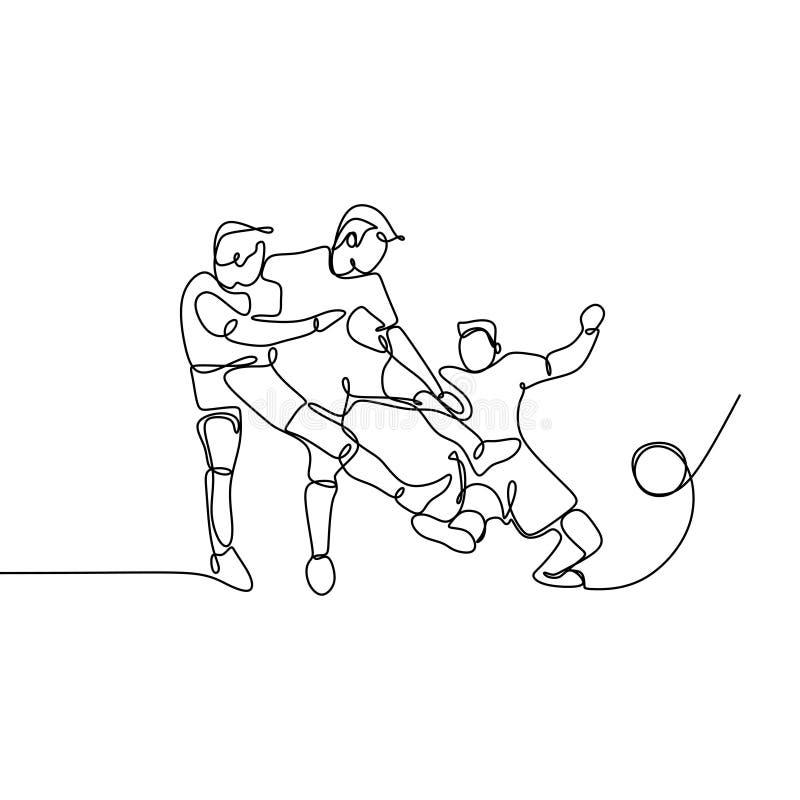 Ununterbrochenes Federzeichnung oder ein Federzeichnung von zwei Fußball-Spielern, die für Ball kriechen lizenzfreie abbildung