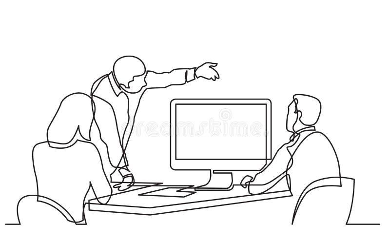 Ununterbrochenes Federzeichnung von den Geschäftsteammitgliedern, die Arbeitsprozess auf Großleinwand besprechen stock abbildung