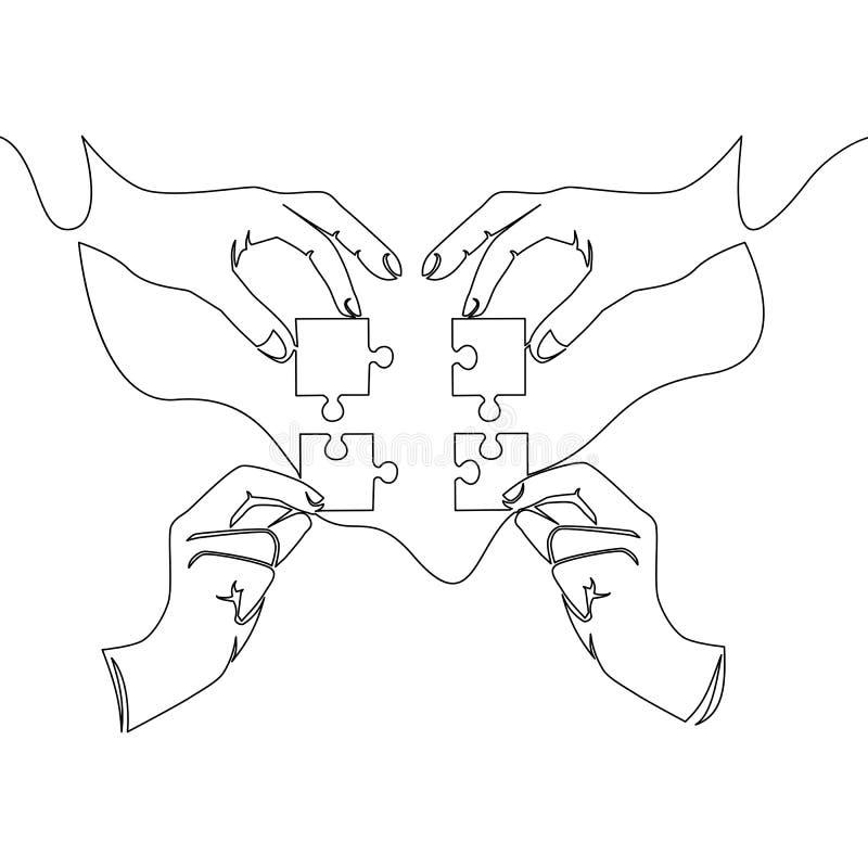 Ununterbrochenes Federzeichnung von den Händen, die Puzzlespiel lösen lizenzfreie abbildung