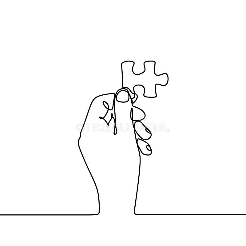 ununterbrochenes Federzeichnung von den Händen, die unbedeutenden Entwurf des Puzzlen lösen vektor abbildung