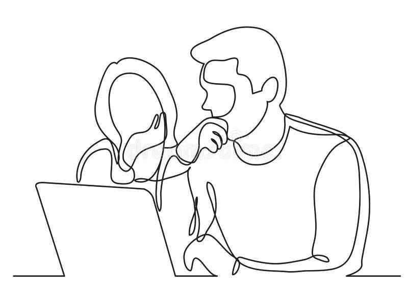 Ununterbrochenes Federzeichnung von den Mitarbeitern, die zusammen Laptop-Computer aufpassen vektor abbildung
