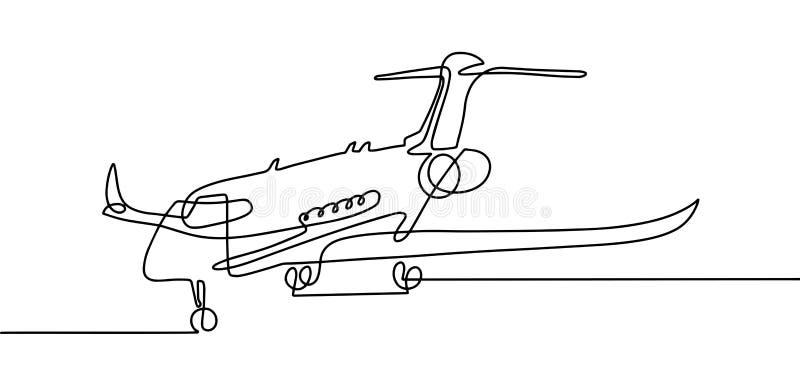 Ununterbrochenes Federzeichnung von Flugzeugen in modernem minimalistic s vektor abbildung