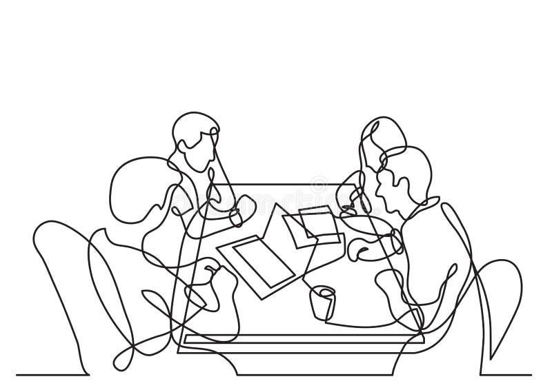 Ununterbrochenes Federzeichnung von vier Teammitgliedern, die zusammenarbeiten lizenzfreie abbildung