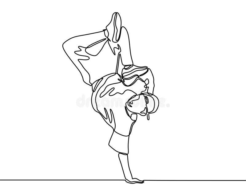 Ununterbrochenes Federzeichnungsbreakdance Person, die Sporttanztätigkeit tut Unbedeutende Entwurfsvektorillustration lizenzfreie stockbilder