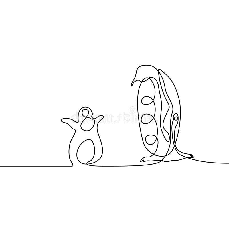 Ununterbrochenes Federzeichnungselternteilpinguin mit einem Pinguinbaby Elternliebe Konzept Auch im corel abgehobenen Betrag stock abbildung