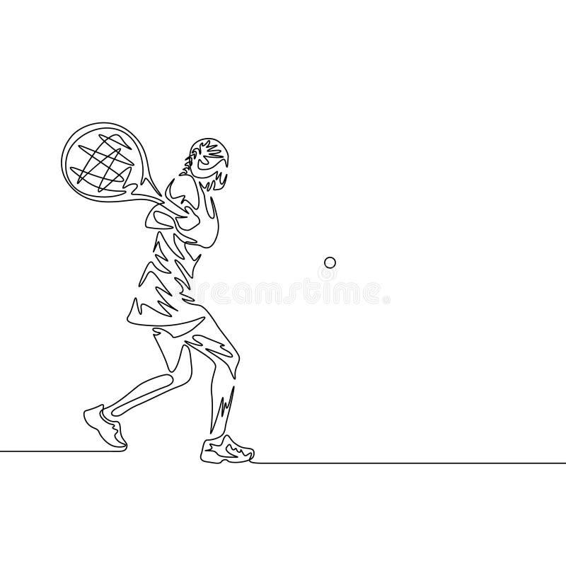Ununterbrochenes Federzeichnungsfrauen-Tennisspielerschwingen, zum des Balls zu schlagen stock abbildung