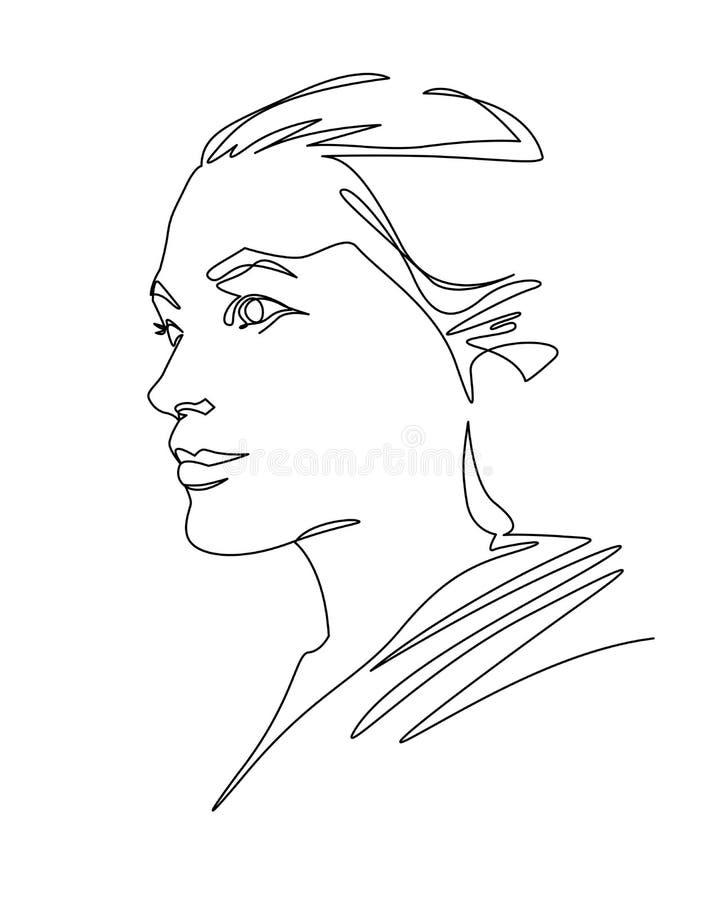 Ununterbrochenes Federzeichnungsfrauengesicht Abstraktes weibliches Profilporträt lizenzfreie abbildung