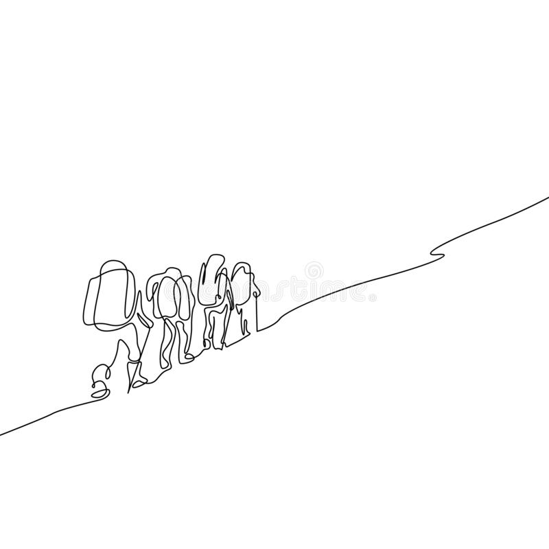 Ununterbrochenes Federzeichnungsgruppe des Wanderns mit vier Leuten vektor abbildung