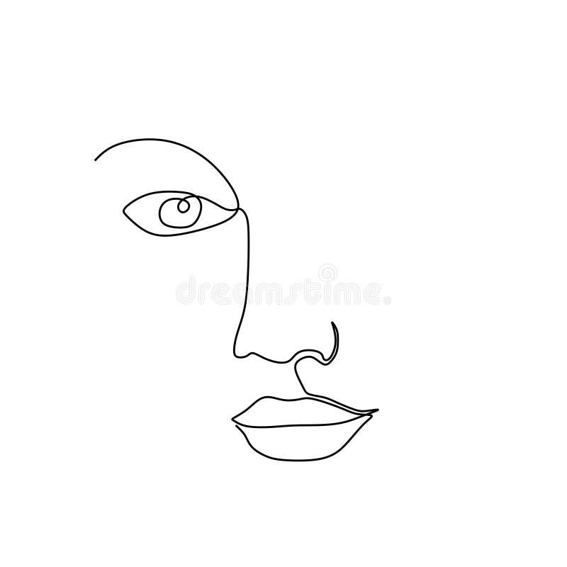 Ununterbrochenes Federzeichnungsminimalismusentwurf des abstrakten Mädchengesichtes lokalisiert auf weißem Hintergrund stock abbildung