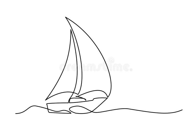 Ununterbrochenes Federzeichnungssegelboot vektor abbildung