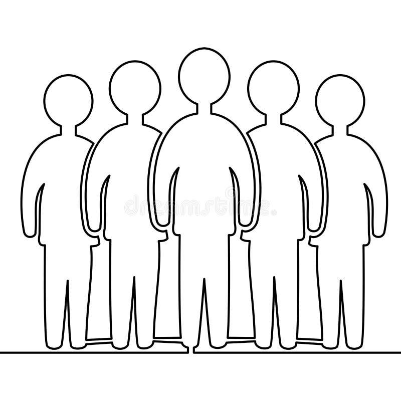 Ununterbrochenes Federzeichnungsteammitgliedstellung stock abbildung