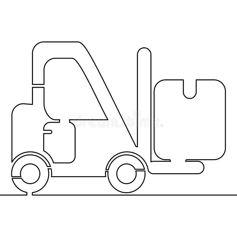 Ununterbrochenes Gabelstapler-Ikonenkonzept der einzelnen Zeile lizenzfreie abbildung
