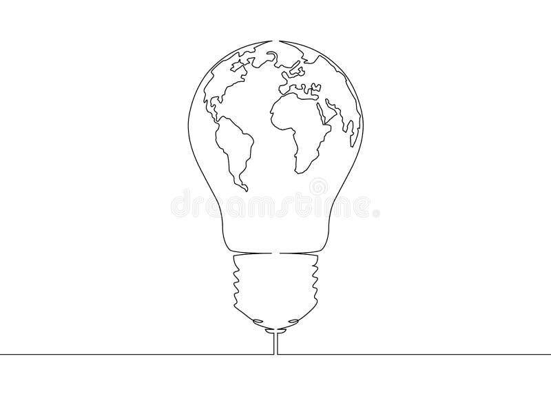 Ununterbrochenes Glühlampesymbolidee Weltkartekugel der Federzeichnung innerhalb der Lampe stock abbildung