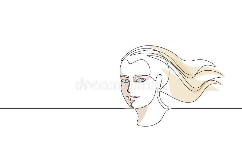Ununterbrochenes Kunst-Mädchengesichtskonzept der einzelnen Zeile Gezeichnete Skizze des Schönheitsporträtmode-Haares Hand Schönh stock abbildung