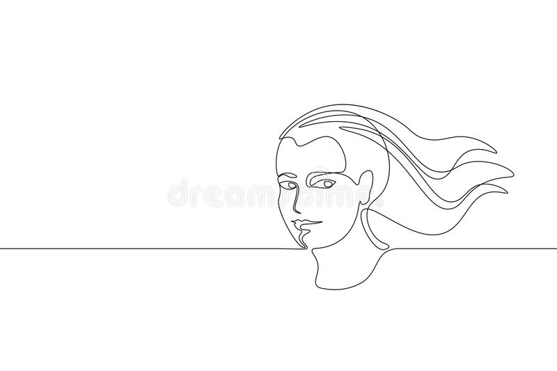 Ununterbrochenes Kunst-Mädchengesichtskonzept der einzelnen Zeile Gezeichnete Skizze des Schönheitsporträtmode-Haares Hand Schönh lizenzfreie abbildung