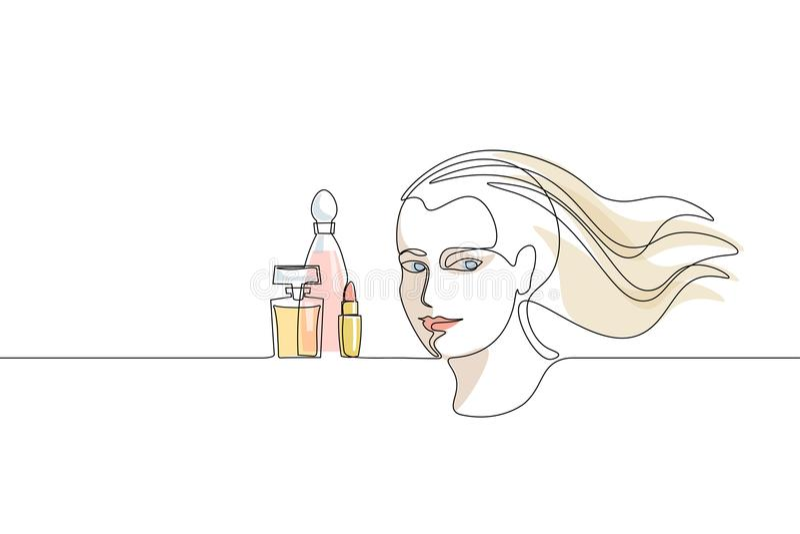 Ununterbrochenes Kunst-Mädchengesichtskonzept der einzelnen Zeile Schönheitsporträt bilden gezeichnete Skizze des Parfüms Hand sc lizenzfreie abbildung